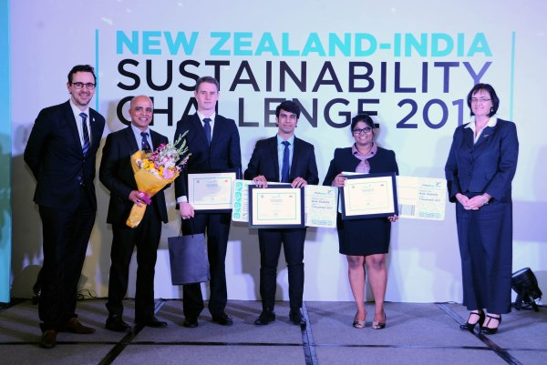 photo of team from Manipal Akondi Saisri hurt Suri, Arun Shanbhag winning the New Zealand India Sustainability Challenge